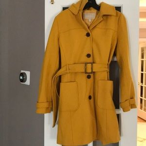 Banana Republic Gold Wool Hooded Belted Coat!